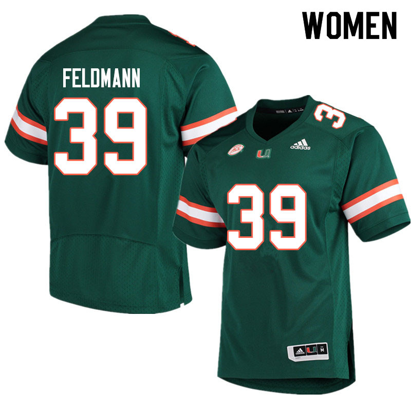 Adidas Miami Hurricanes Women #39 Gannon Feldmann College Football Jerseys Sale-Green